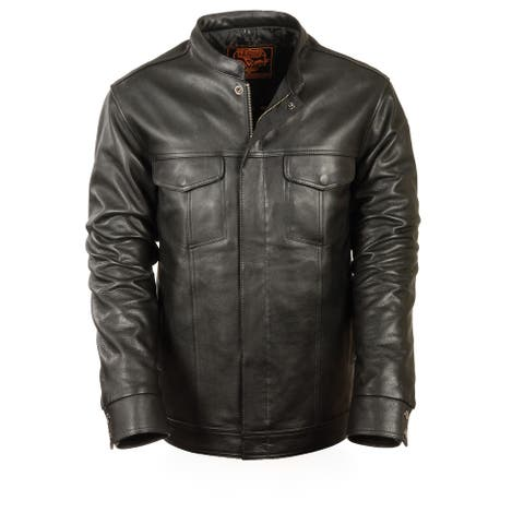 Mens Lightweight Leather Jacket/Shirt W/Hidden Zip And Snaps