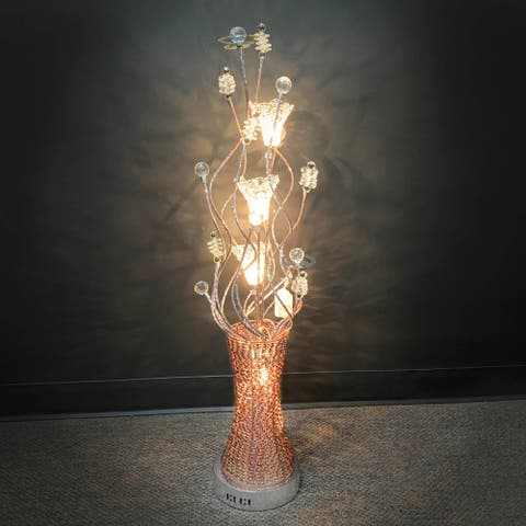 "Dazzling 39.5"" Copper Metal & Crystal Floral 5-Light Showpiece"