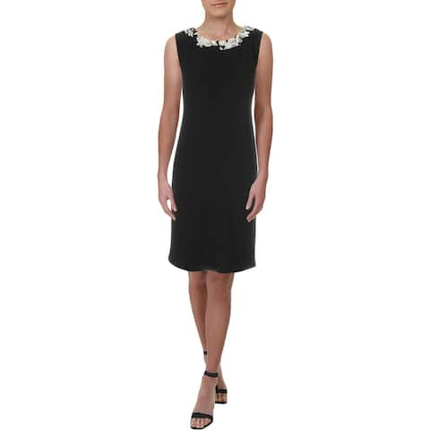 R&M Richards Womens Petites Cocktail Dress Knit Sleeveless - Black-Ivory - 4P