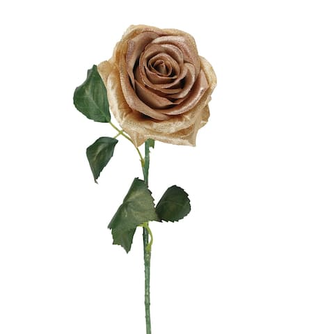 """21.5"""" Brown and Green Artificial Silk Rose Craft Pick"""