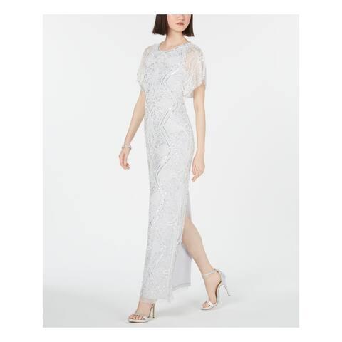 ADRIANNA PAPELL Ivory Short Sleeve Full-Length Dress 2