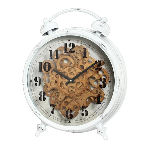 A&B Home White 18-inch Classic Gears Table Clock
