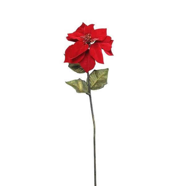 """28"""" Candy Apple Red Artificial Poinsettia Stem"""