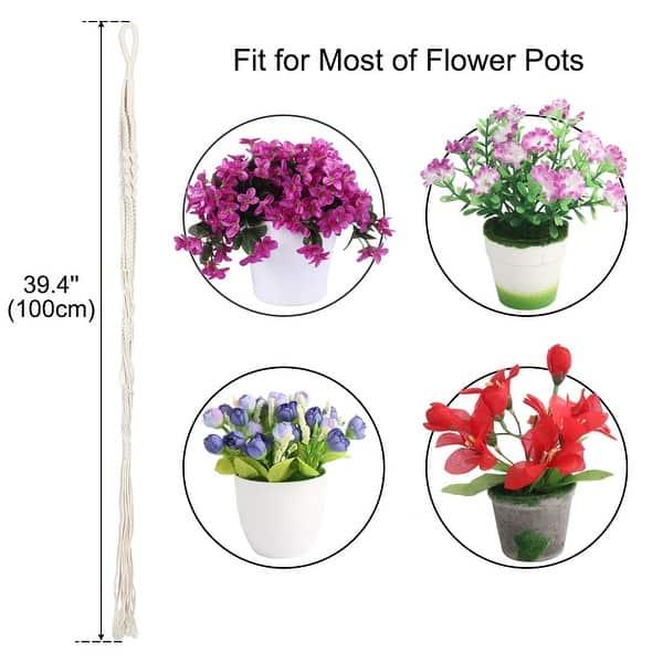 4 Pcs Garden Plant Hanger Macrame Hanging Planter Basket Rope Flower Pot Holder