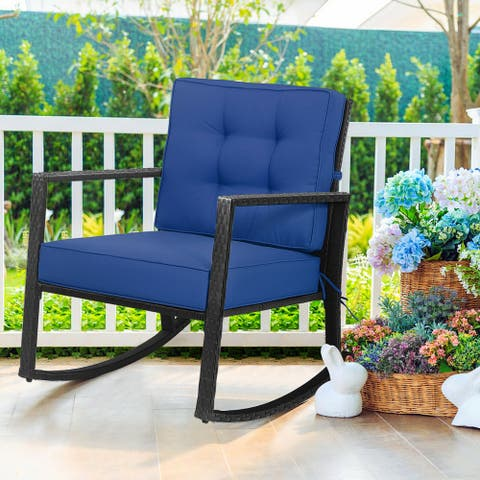 Gymax Outdoor Wicker Rocking Chair Patio Lawn Rattan Single Chair - See Details