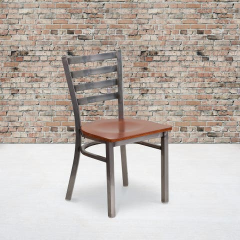 "Clear Coated Ladder Back Metal Restaurant Chair - 16.5""W x 17""D x 32.25""H"