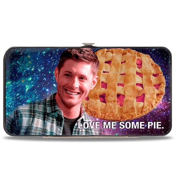 Dean Smiling Pie Galaxy Blue Purple Fade + Supernatural Join The Hunt Black Hinge Wallet - One Size Fits most