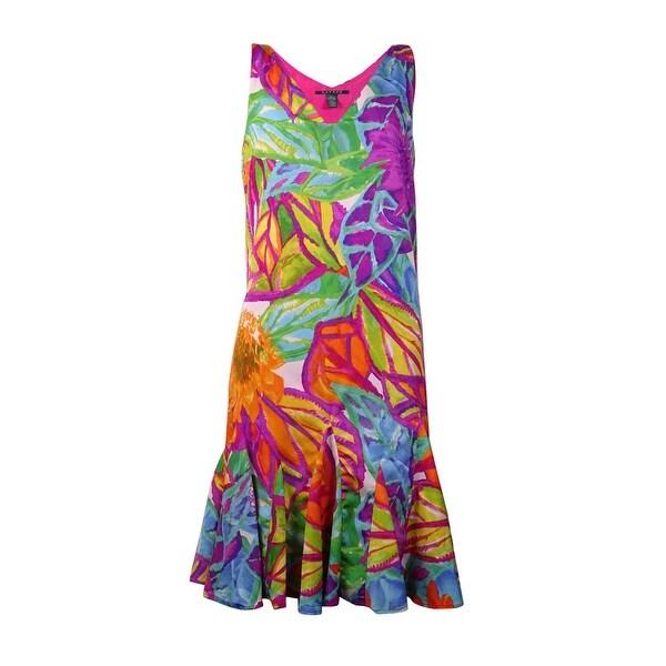 278d3c05d7 Shop Lauren Ralph Lauren Women s Pleated Trim Floral Print Dress - Multi -  On Sale - Free Shipping Today - Overstock.com - 15018268