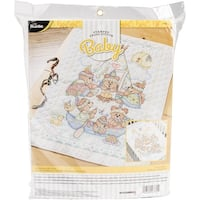 "Tee Pee Bears Crib Cover Stamped Cross Stitch Kit-34""X43"""