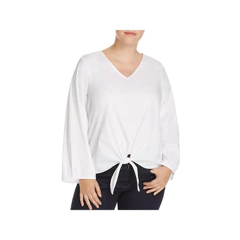 Love Ady Womens Plus Blouse Bell Sleeve Tie Front