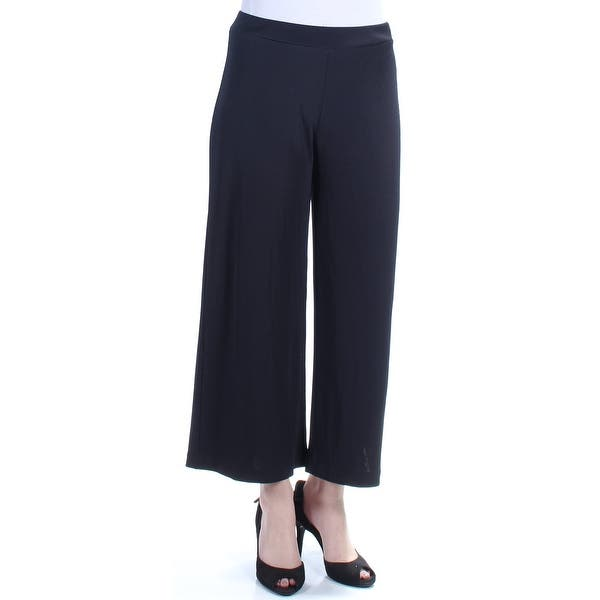 2ca5a2d04 Shop KENSIE Womens Black Cropped Ribbed Wide Leg Pants Size: M - On ...