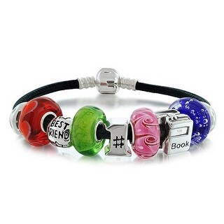 Bling Jewelry 925 Sterling Silver Friendship Bead Charm Bracelet Leather