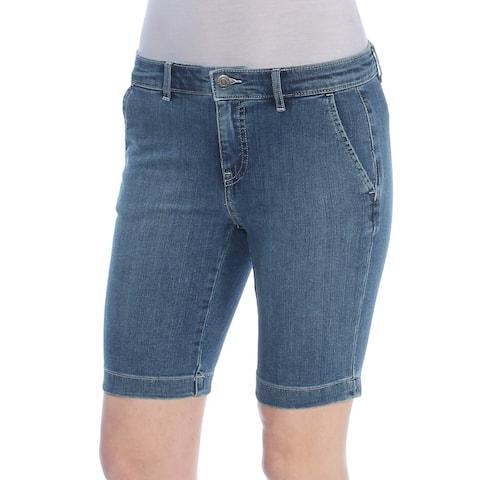 RALPH LAUREN Womens Blue Embroidered Denim Short Petites Size: 0