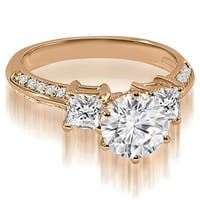 1.20 cttw. 14K Rose Gold Round and Princess cut Diamond Engagement Ring