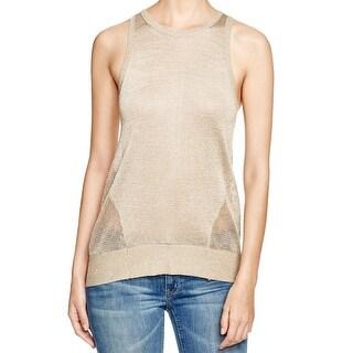 Michael Kors NEW Gold Women's Size Medium M Mesh-Trim Metallic Knit Top