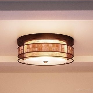 "Luxury Art Deco Flush Mount Ceiling Light, 6""H x 12""W, with Moroccan Style, Copper Revival Finish"