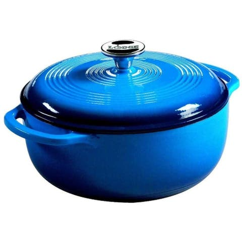 Lodge EC6D33 Color Enamel Dutch Oven, Blue, 6 Quart