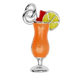Silver Plated Handpainted Light Charm, Tropical Drink W/ Lime 16.3x10x4.3mm, 1 Piece, Orange
