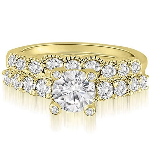 2.05 cttw. 14K Yellow Gold Antique Style Milgrain Diamond Bridal Set