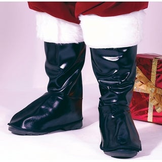 Deluxe Black Vinyl Santa Claus Boot Tops Costume Accessory - Adult Size