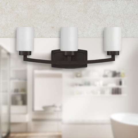 Hadley 3-Light Bathroom Vanity Lighting, Triple Wall Sconce, Opal Glass Shades