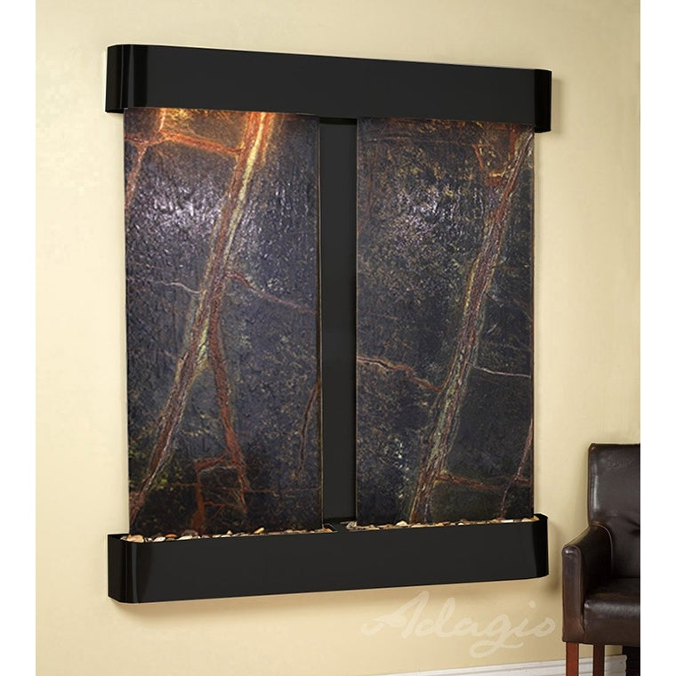 Adagio Cottonwood Falls Fountain w/ Green Rainforest Marble in Blackened Copper - Thumbnail 0