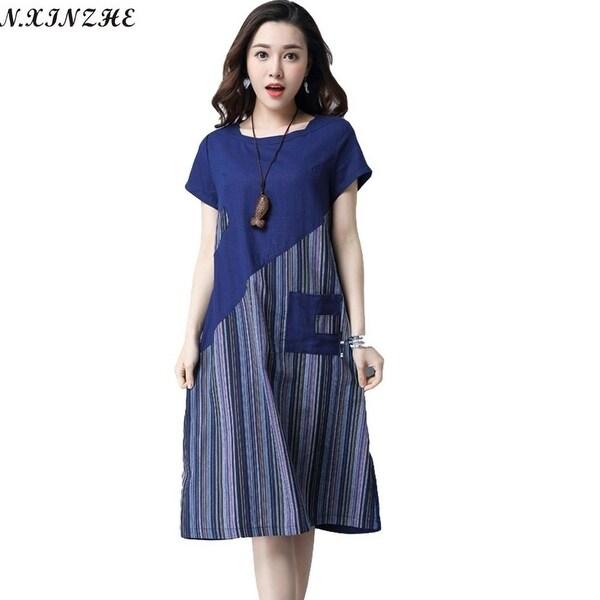 de1e15c95d653 N.Xinzhe Cotton And Linen Dress Women 2017 Summer Vintage Striped Patchwork  Pockets Loose Casual