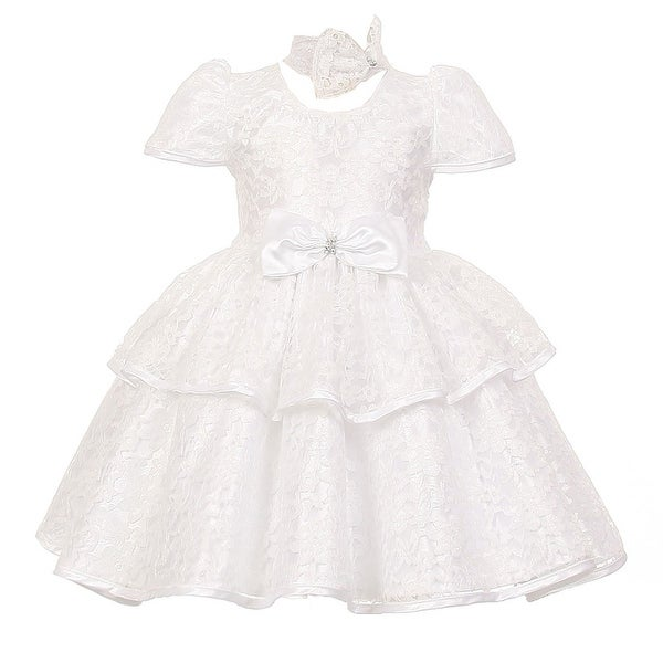 Baby Girls White Floral Embroidered Lace Overlay Bow Flower Girl Dress 6-24M