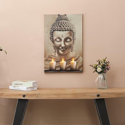 Buddha Three Candles Canvas Print with LED Lights