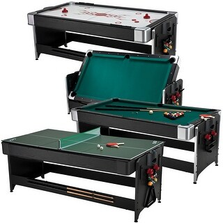 Fat Cat Original Pockey 3-in-1 Game Table 7' feet Billiard, Air Hockey, Table Tennis / 64-1046
