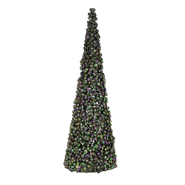 "Set of 2 Regal Peacock Purple, Green and Gold Peacock Cone Christmas Tree Table Top Decoration 24"" - PURPLE"