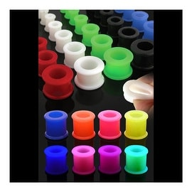 "Light Weight Flexible Silicone Double Flare Tunnel Plug 7/8"" Long (Sold Individually)"