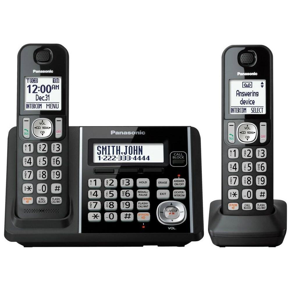 Panasonic Kx Tg3752b Cordless Phone With Handset Answering Machine 2 Handsets