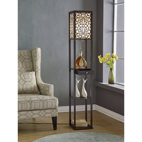 """Etagere 63"""" Shelf Floor lamp with Shade and Drawer"""