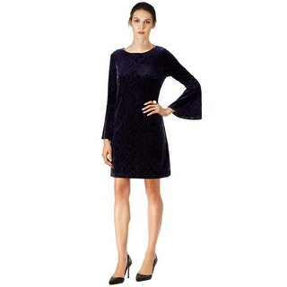 ECI Velvet Bell Sleeve Shift Cocktail Dress