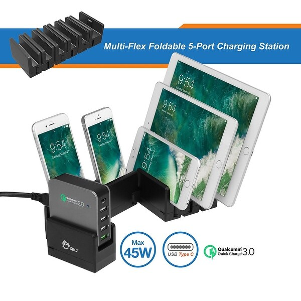 Siig Ac-Pw1814-S1 Multi-Flex Foldable 5-Port Charging Station - Black