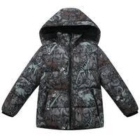 Richie House Baby Boys Brown Dinosaur Print Hood Padded Jacket 12-24M