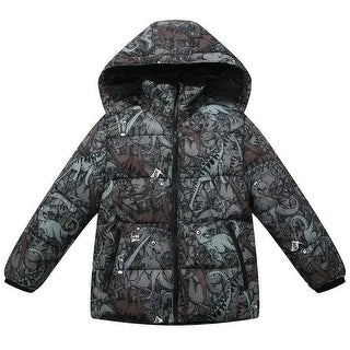 Richie House Baby Boys Brown Dinosaur Print Hood Padded Jacket 12-24M