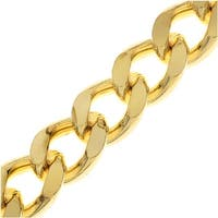 Gold Plated Bulk Chain, Heavy Flattened Curb Links 9.5x12.5mm, 1 Inch, Bright Gold