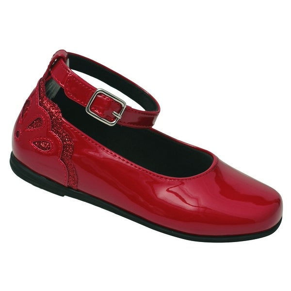 b567cad7a509 Shop Little Girls Red Patent Scalloped Back Ankle Strap Casual Shoes ...
