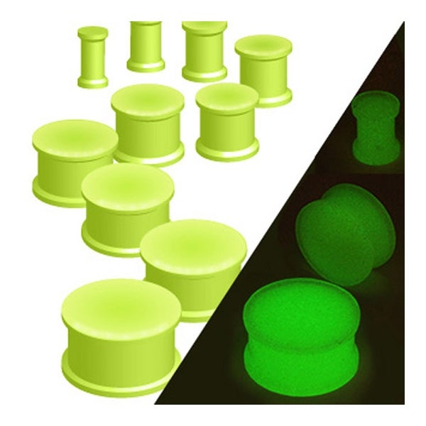 Glow in the Dark Silicone Flexible Double Flared Plug (Sold Individually)