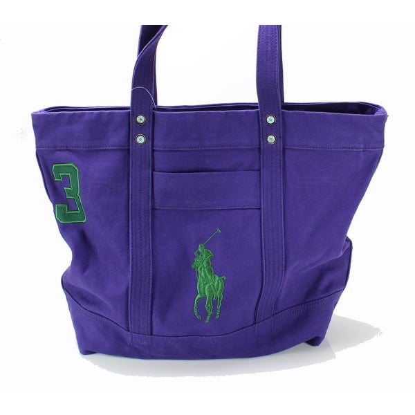 Polo Ralph Lauren NEW Squire Purple Mens Large Embroidered Logo Tote Bag