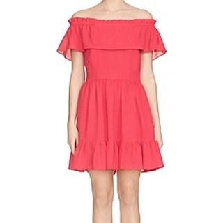 Cynthia Steffe Dark Pink Ruffled Off-Shoulder Size 12 Sheath Dress