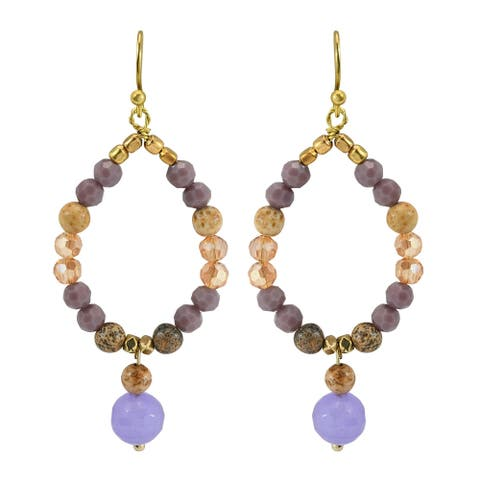 Handmade Beaded Teardrop Hoop of Crystal and Mix Quartz Brass Dangle Earrings (Thailand)