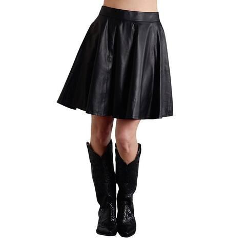 Stetson Western Skirt Womens Leather Circle Black