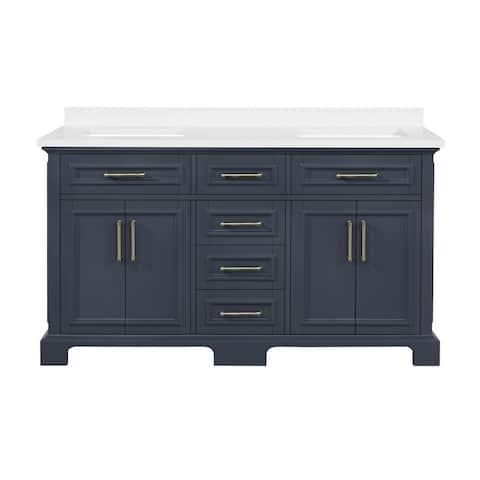 OVE Decors Sarah 60 in. Double Sink Bathroom Vanity in Midnight Blue