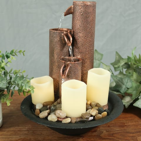 Sunnydaze 3-Tier Column Indoor Tabletop Water Fountain with LED Candle Lights