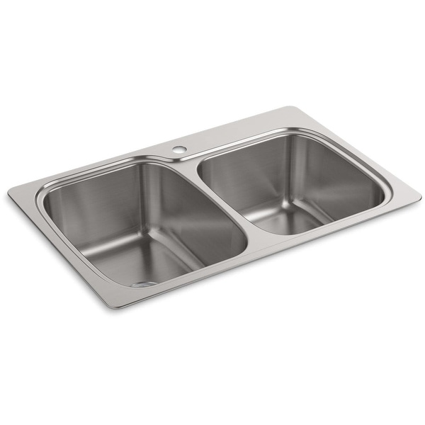 "Kohler K-75791-1 Verse 33"" Double Basin Drop-In or Undermount Stainless Steel Kitchen Sink with SilentShield - Stainless Steel"