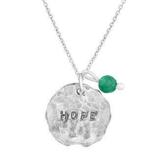 'Hope' Charm Pendent with Natural Aventurine in Sterling Silver - Green