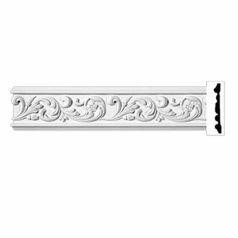 "Ornate Crown Molding White Urethane 4 7/8"" H Kenmorer Renovator's Supply"